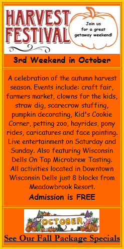 Autumn Harvest Fest Fall Festival - Stay at Meadowbrook Resort & DellsPackages.com in Wisconsin Dells