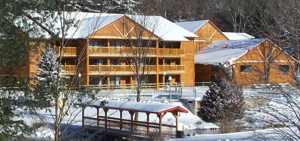 The Tall Timber Lodge in Winter at Meadowbrook Resort & DellsPackages.com in Wisconsin Dells