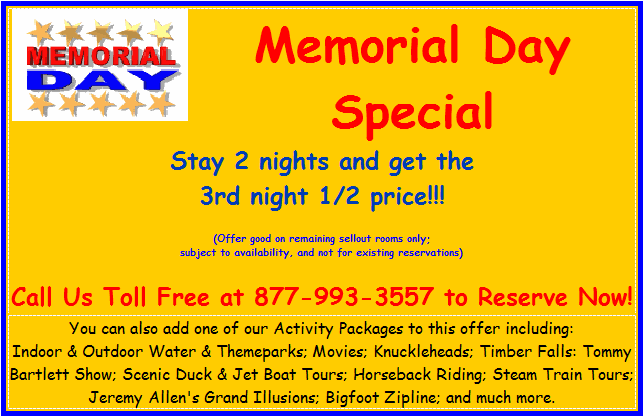 Discount promotion for Memorial Day in Wisconsin Dells at Meadowbrook Resort